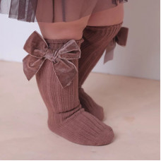 Knee socks with velour bows