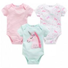 Set of 3 short sleeve bodysuits (unicorn)