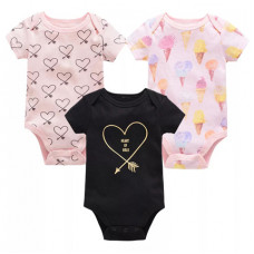 Set of 3 short sleeve bodysuits (black with heart)