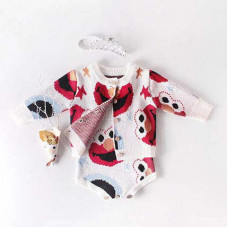 Bodysuit and cardigan with print