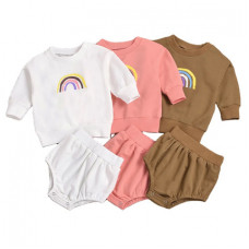 Hoodie with rainbow and shorts set