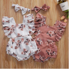 Summer bodysuit with flowers print