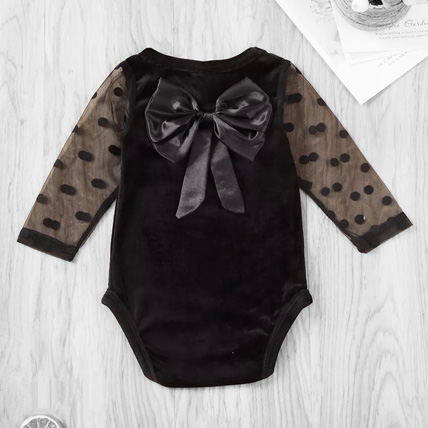 Velour bodysuit with a bow