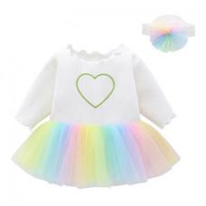 Rainbow bodysuit-dress with a headband