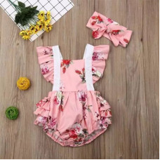 Floral print bodysuit with a headband
