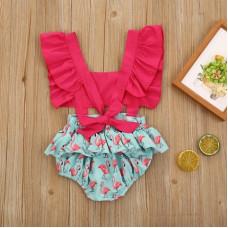 Summer bodysuit with flamingo print