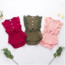 Sleeveless bodysuit with a bow