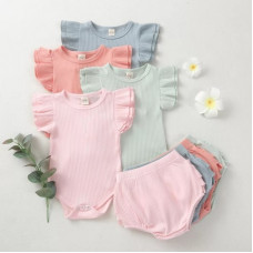 Bodysuits and shorts with flounces set
