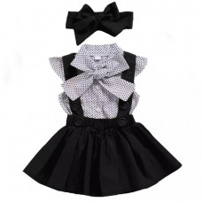 Set - polka dot blouse and skirt with straps