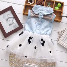 Dress with a semi-transparent skirt and a denim top