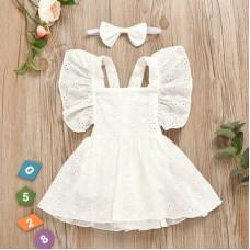 White light dress with a headband