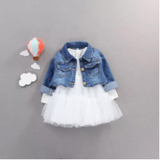 Dress with a full skirt and a denim jacket