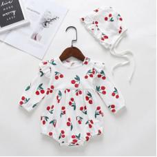 Cherries print bodysuit with long sleeves