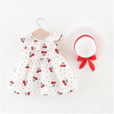 Сherries print dress with a hat