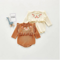 Knitted bodysuit with embroidery