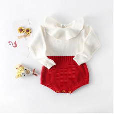 Red and white collared bodysuit